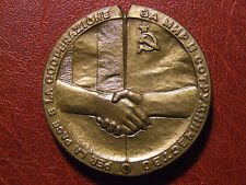 USSR & ITALY cooperation for peace Gorbachev Cossiga ROME 1989 medal