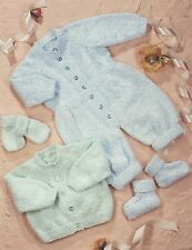Knitting Pattern - Baby Cardi, Romper Suit, Booties/Mitts -3 sizes 0-12m  PO318