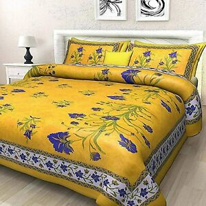 100% Cotton Floral Printed size Double Bedsheet with 2 Pillow Cover Free ship