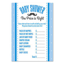 Baby Shower 'The Price is Right' Game, Pack of 16, Boys Blue Moustache Theme