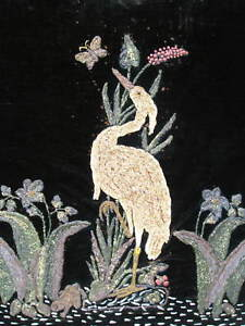 OLD Unusual Handwork Crane Florals Dark Velvet GREAT Mid Century Modern Decor