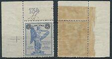 1924 REGNO 1 LIRA SU 25 CENT NUMERO TAVOLA LUSSO MNH ** - T125