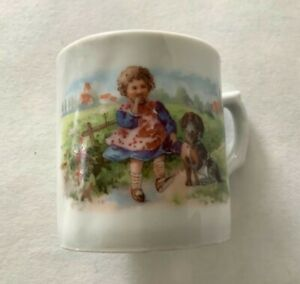 Vintage porcelain transfer printed Nursery Child's Cup with girl and dog