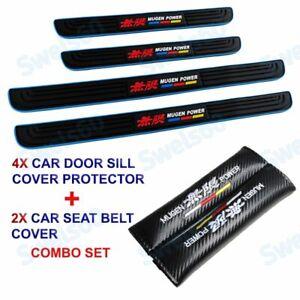 Rubber Car Door Scuff Sill Panel Step Protector Blue 4PCS MUGEN +Seat Belt Cover