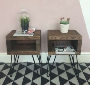 A PAIR of Rustic bedside tables | industrial nightstand with black hairpin legs