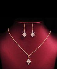 18ct Rose Gold Set Dangle Flower Earrings  Necklace SWArowsky Jewellery
