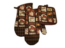 Kitchen Accessory Set Oven Mitts Pot Holders Coffee Cups Prints Brown NEW