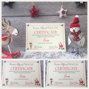 Personalised Letter From Santa Nice List Certificate Christmas Eve Box Filler