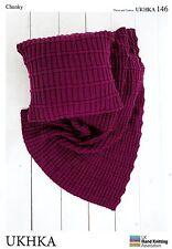 CHUNKY KNITTING PATTERN - Easy Knit Design Throw / Blanket & Cushion   UKHKA 146