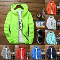 Men Waterproof Wind Breaker Zipper hoodie Light Jacket Sports Outwear Gym Coat