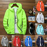 Mens Waterproof Wind Breaker Zipper hoodie Light Jacket Sports Outwear Gym Coat