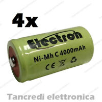 4x Pila Batteria ricaricabile Ni-Mh NiMh 1/2 mezza torcia C 4000mAh 50x26mm pin