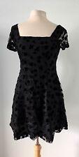 ANNA SUI Sz 6 Black Lace Layered Fit-Flare Mini Party Dress Henri Bendel