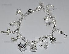 Hallmarked Sterling Silver Key Cross Heart Moon Charm Wrist Bracelet. 7.5 inch
