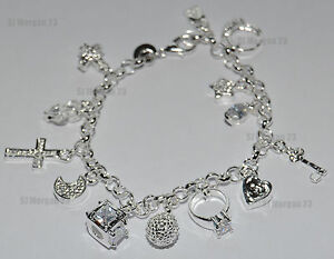 Hallmarked Sterling Silver Key Cross Heart Moon Charm Wrist Bracelet. 7.5 inch