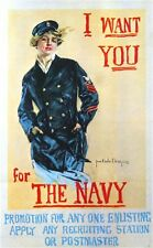 1917 WWI I Want You for the Navy American Patriotic Advertisement Poster Print