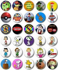 """Kids Retro TV Various 25mm, 1"""" Button Badge, B to C, Windy Miller Snoopy"""