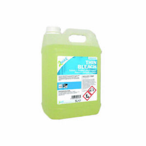 2Work Thin Bleach 5 Litre Industrial-sized Cleaning Kills Germs Hygienic Disinfe