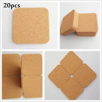 20PCS Blanks Wooden Squares Coasters Heat Resistant Cup Coaster Shabby Drink Mat
