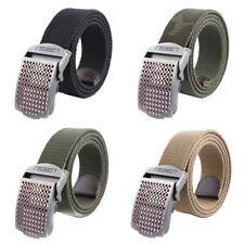 Mens Canvas Belt Military Tactical Waist Belt Hollow out Alloy Buckle BeltsEF