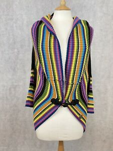 Galliano Ladies Black Bright Colourful Knitwear Cardigan - Size Medium