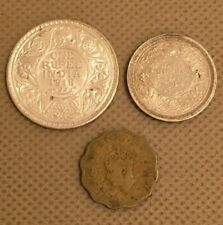 .917 Silver British India 1918B One Rupee; 1944B Half Rupee; 1943 One Anna