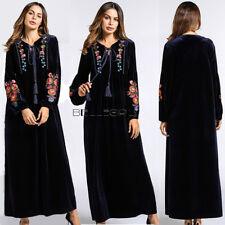 fd6ca0121c1b Women Velvet Embroidery Dress Muslim Loose Abaya Kaftan Islamic Winter Maxi  Robe