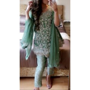 Asian Party Wear 3 Piece setPeplum dress, fitted trousers and scarf. S/M