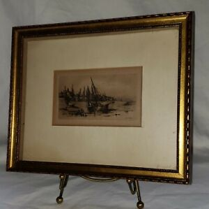 "Orig 1882 C.A. Platt Etching ""Provincial Fishing Village"" in Gold Gilded Frame"