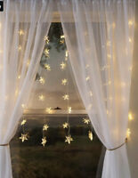 """Plow & Hearth Electric Star Curtain Lights on Clear Wire, 128 Lights, 78""""Wx45""""L"""