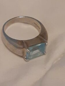 Thailand 925 Sterling blue Topaz princess cut ring size 7.75