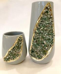 Grey And Gold Ceramic Vase Light Green Semi Precious Agate Crystal Gemstones 2pc