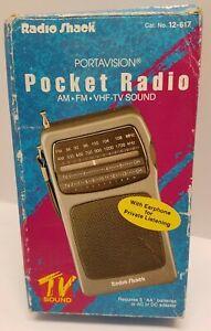 Vintage Radio Shack portavision pocket radio AM/FM vhf tv sound in original box!
