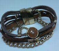 Modern Brown Gold Tone Chain Leather Wrap Bracelet