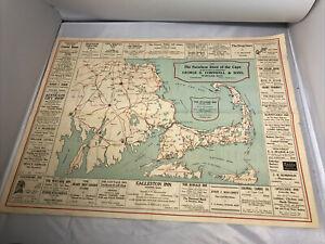 Wonderful Vintage Cape Cod MA Advertising Tourist Map