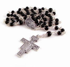 Unbreakable Rosary Beads St Padre Pio Relic Medal Black Onyx w San Damiano X