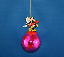 Disney Mickey and Minnie Mouse Sweethearts Pink Glass Ball Christmas Ornament