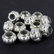 100 x ccb plastique argenté chambre d' inhalation perles grand trou 12x8mm estampé nope NP3