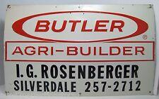 Vtg Butler AgriBuilder Sign embossed mtl IG Rosenberger Silverdale Pa farm equip