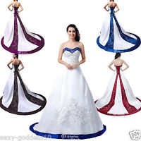 New Noble Embroidery Wedding Dress Bridal Gown Size 6 8 10 12 14 16 18