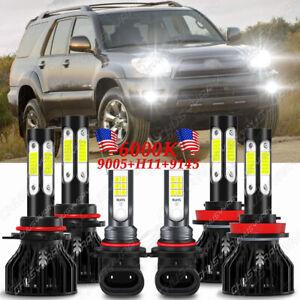 Para For Toyota 4Runner 2006 2007 2008 2009 faros LED+luz antiniebla 6 bombillas