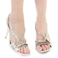 NEW Celeste Women's Silver Rhinestone Strappy High Heels Shoes (Choose Size)