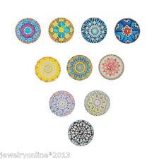 10 Mix Glas Cabochons Rund Mehrfarbig Blumen Blüten Muster 25mm