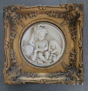 Gilt Frame Marble Wall Plaque Depicting Group of 3 Cherubs Enrico Braga Italian