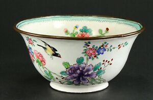 ^ Antique 1800's FINE Chinese Canton Enamel on Copper Rice Bowl Birds, Flowers