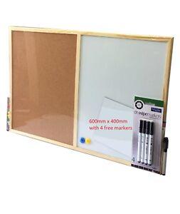 Pin Cork Board & Magnetic Whiteboard Dry Wipe White Memo & Cork Pin Board