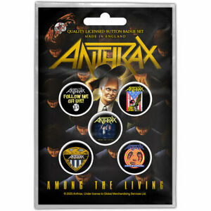 """ANTHRAX - """"AMONG THE LIVING"""" - 5 BUTTON BADGE PACK - U.K. SELLER"""