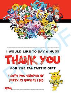 POKEMON Pack of 10 THANK YOU CARDS Kids Children birthday