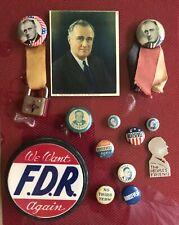 Lot of 13 pc. FDR Campaign Pinbacks, other memorabilia, inc.  It's a Lock Ribbon