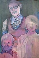 Brigitte Tietze Berlin Ölgemälde Porträt Familie Mutter mit Kindern 80er Jahre